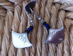 Earrings, silver and beads