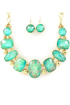Vitrail Etta Necklace Set in Teal