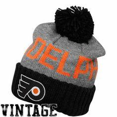 6c27dbbe452 Mitchell   Ness Philadelphia Flyers Gray-Black Breakaway Cuffed Knit Beanie