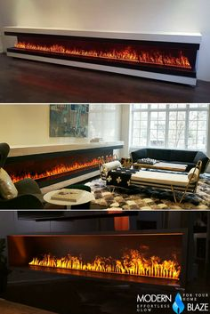 Linear electric fireplace that looks like gas! Linear Fireplace, Fireplace Inserts, Diy Fireplace, Modern Fireplace, Living Room With Fireplace, Fireplace Design, Fireplaces, Living Room Interior, Living Room Decor
