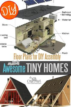 Cute Small Cabin Plans (A-Frame Tiny House Plans, Cottages, Containers) - Craft-Mart Unique Small House Plans, Cute Small Houses, Small Cabin Plans, A Frame House Plans, Small House Floor Plans, Cabin Floor Plans, A Frame Cabin, Small House Design, Cabana