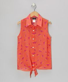Look what I found on #zulily! Coral Hearts Tie-Front Top - Girls #zulilyfinds