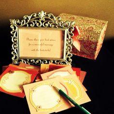 Share your marital advice with the bride! :) Wedding shower idea.