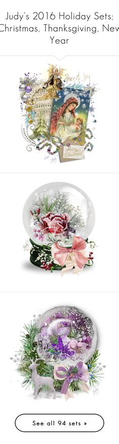 """""""Judy's 2016 Holiday Sets; Christmas, Thanksgiving, New Year"""" by judymjohnson ❤ liked on Polyvore featuring art, Christmas, tree, ornament, construction, judymjohnson, vintage, daisyjayne, ribbon and onecut"""