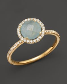 Meira T 14K Yellow Gold Milky Aquamarine and Diamond Ring | Bloomingdale's