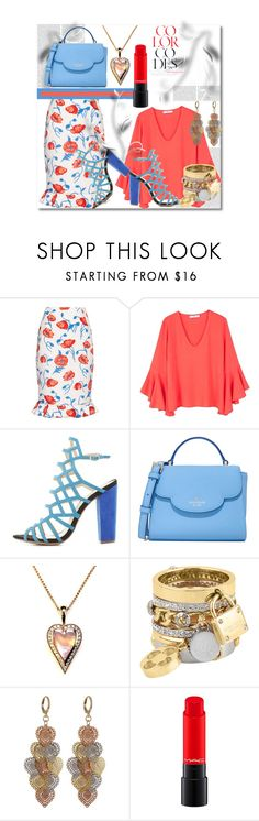 """""""Color Codes: Salmon & Turquoise"""" by helenaymangual ❤ liked on Polyvore featuring Oscar de la Renta, Oris, MANGO, Charlotte Russe, Kate Spade, Henri Bendel and Luxiro"""