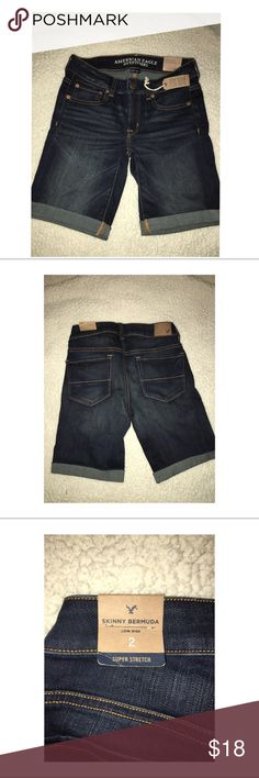 American Eagle Outfitters Bermuda Shorts - NWT AE Skinny Bermuda Shorts.  These are NEW with tag.  They are the skinny Bermuda in the After Dusk wash.  They are LOW rise in SUPER stretch.  Originally paid $40 and never worn.  Size 2. American Eagle Outfitters Shorts Bermudas
