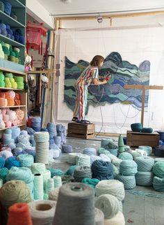 Inspiring Art, Artist At Work, Rug Making, Punch, Studios, Scene, Artists, Embroidery, Rugs