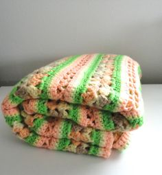 Vintage Knitted Blanket in Pink Light Green Grey and by KimBuilt, $14.75