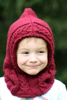 Little Red Hooded Cowl Balls to the Walls Knits, A collection of free one- and two- skein knitting patterns