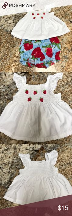 🍓Strawberry Gymboree Summer Outfit🍓 This outfit is in excellent condition, the tag on the shirt was removed but that's the only flaw I could find.      -Two-piece set -Features detailed embroidery -Easy pull-on style bottoms -Machine wash; Imported 💗Bundle and save💗 Gymboree Matching Sets