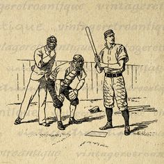 Baseball Graphic Image Download Sports Players Digital Printable Antique Clip Art for Transfers Making Prints etc HQ 300dpi No.3628 @ vintageretroantique.etsy.com