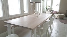 We have made this planktable with oak and metal legs to modern, beutiful home. Chairs are Tapiovaara`s Domus. Chairs, Dining Table, Rustic, Legs, Metal, Modern, Summer, House, Furniture