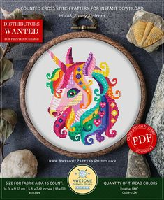 This is modern cross-stitch pattern of Funny Unicorn for instant download. You will get a PDF file, which includes: - main picture for your reference; - colorful scheme for cross-stitch; - list of DMC thread colors (instruction and key section); - list of calculated thread