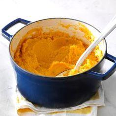 Pumpkin & Cauliflower Garlic Mash Recipe -I wanted healthy alternatives to my family's favorite recipes. Pumpkin, cauliflower and thyme make an amazing dish. You'll never miss those plain old mashed potatoes. —Kari Wheaton, South Beloit, Illinois