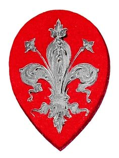 Ancient arms of the city of Florence: Gules, a fleur de lis argent. The first coat of arms of the city of Florence, being a symbol of the Ghibelline faction. Coats of arms on the facade of the Palazzo Vecchio, Florence. First painted c. 1340. Repainted 1792. The current paintings are from post 1945.