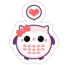 Super cute fat pink baby owl stickers.