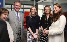 Principal actors (L-R) Penelope Wilton, Hugh Bonneville, Laura Carmichael line up to greet the Duchess