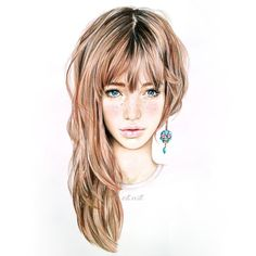 Elle Wills illustration Portraits, Portrait Art, Arte Sketchbook, How To Draw Hair, Beautiful Drawings, Pretty Drawings, Hair Art, Anime Style, Fashion Art