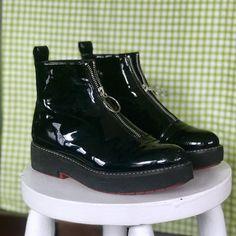 922c5f26381 Zara faux patent leather platform zipper bootie♥ Notice in - Depop Patent  Leather