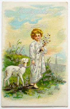 Silvery Little Easter Angel with White Lamb Postcard Emb | eBay