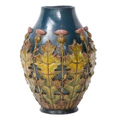 Peter Ipsen Art Nouveau vase with applied thistles, Denmark, early 1900's