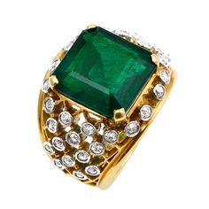 6.20 Carat Cartier Colombian Emerald No Oil Ring | From a unique collection of vintage engagement rings at http://www.1stdibs.com/jewelry/rings/engagement-rings/