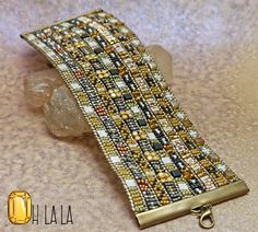Leather Cuff Bracelet with Crystals and Beads on от OhlalaJewelry