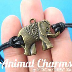 Cute Elephant Charm Bracelet in Bronze on Black $7.99 #elephant #charm #bracelet #jewelry #animaljewelry #artFire #sale