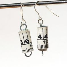 Found Object Jewelry Upcycled Tape Measure Earrings by Tanith