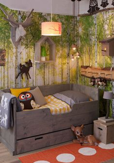 Dreamland kids room. - would be way cuter if the room didn't have so many trees. Something a little more simple.