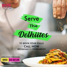 To all the soul-chefs, bakers, restaurateur and food trucks, come and participate in the Delhi's biggest food fest. To book your stalls CALL NOW: 9999648523 Big Meals, Pop Up Shops, Food Trucks, Stalls, Food Festival, Chefs, Bff, Cravings, Yummy Food