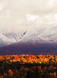 vibrant fall leaf color and snowy mountain peaks | Mount Washington, New Hampshire,  USA via Wood Is Good!