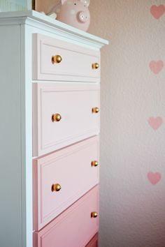 DIY Pink Ombre Dresser in a Big Girl Room