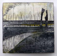Marshscape Collage #1/16, Linen, wax, wire, Debbie Lyndon