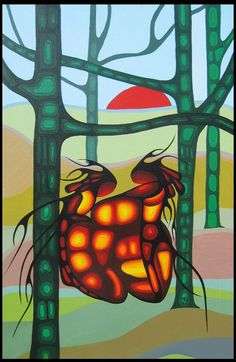 Lovers by Cecil Youngfox (Ojibwe and Métis)- Inuit & Native Art of Canada Original - Red Kettle Art And Collectibles Native American Artwork, Native American Artists, Contemporary Artists, Modern Art, Inuit Art, Spirited Art, Canadian Art, Indigenous Art, Aboriginal Art