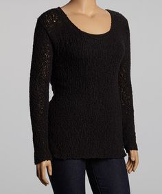Take a look at this Black Sweater - Plus by UMGEE U.S.A. on #zulily today!