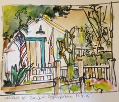 Daily Sketches, photos, videos and assorted ramblings of San Diego Artist, Lydia Velarde. Sketchbook Inspiration, Art Sketchbook, Pen And Watercolor, Watercolor Paintings, San Juan Capistrano, Urban Sketchers, Brush Pen, Sketching, Street