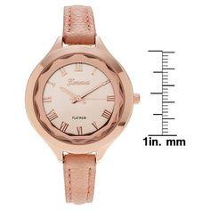 Women's Geneva Platinum Polished Croc Print Strap Watch - Rose Gold
