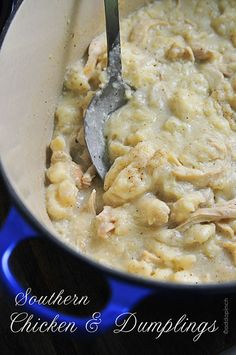 southern chicken and dumplings -True iconic southern recipe! Comfort food at its finest!  from addapinch.com