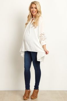 Ivory-Floral-Cutout-Sleeve-Button-Front-Tunic