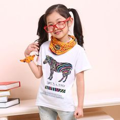 New 2014 Children Unisex Clothing Girls Fashion White T-Shirts Brand Kids Short Sleeve T Shirts Animal Zebra Print Casual Tees $7.52