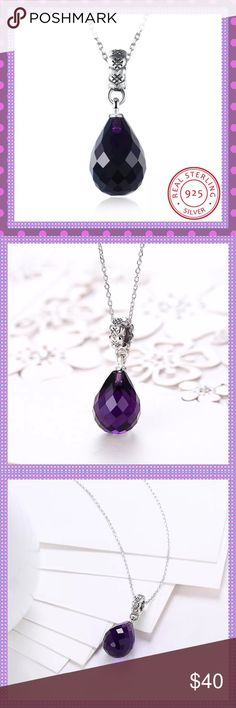 """💜Purple AAA Zircon Crystal Water Drop Necklace💜 💜STUNNING Sterling Silver PURPLE AAA Zircon Crystal Water Drop Checkerboard Pendant Necklace, Stamped Chain (S925) is 18"""" Long with a 2"""" Extender, Pendant is 3CMx1.2CM, Weight is 5.6G, this necklace is absolutely stunning and the sparkle is amazing!💜 Boutique Jewelry Necklaces"""