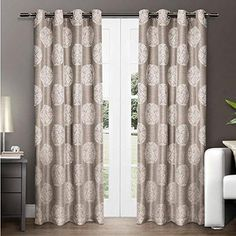96 Inch Girls Natural Color Medallion Pattern Curtain Panel Pair Off white Color Window Drapes Kids Themed Grommet Ring Top Contemporary Playful