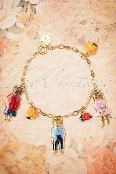 N2 ~ 50s Nathalie Lété Cats and Roses Bracelet in Gold