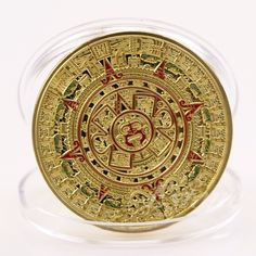 Gold Plated Mayan Aztec Prophecy Calendar Commemorative Coin Collection Gift BH