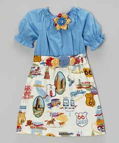 Another great find on #zulily! Blue & Cream 'Route 66' Dress & Sash - Infant, Toddler & Girls by Heavenly Things for Angels on Earth #zulilyfinds