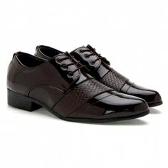 Brown Men's Formal Shoes With Weaving and Lace-Up Design