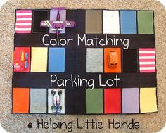 DIY Too cute Color Matching game for boys- with cars! Doing this with ribbons glued to the top of the cars with coresponding parking lot spaces.