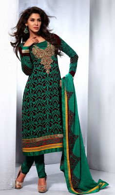 Wine and Greenish Blue Georgette Crepe Churidar Kameez Be your own style advisor by refreshing your old look with wine and greenish blue georgette crepe churidar kameez. The jaal, karachi, resham and stones work appears to be chic and aspiration for any occasion.  #GeorgetteChuridarKameez #DesignerSalwarKameez